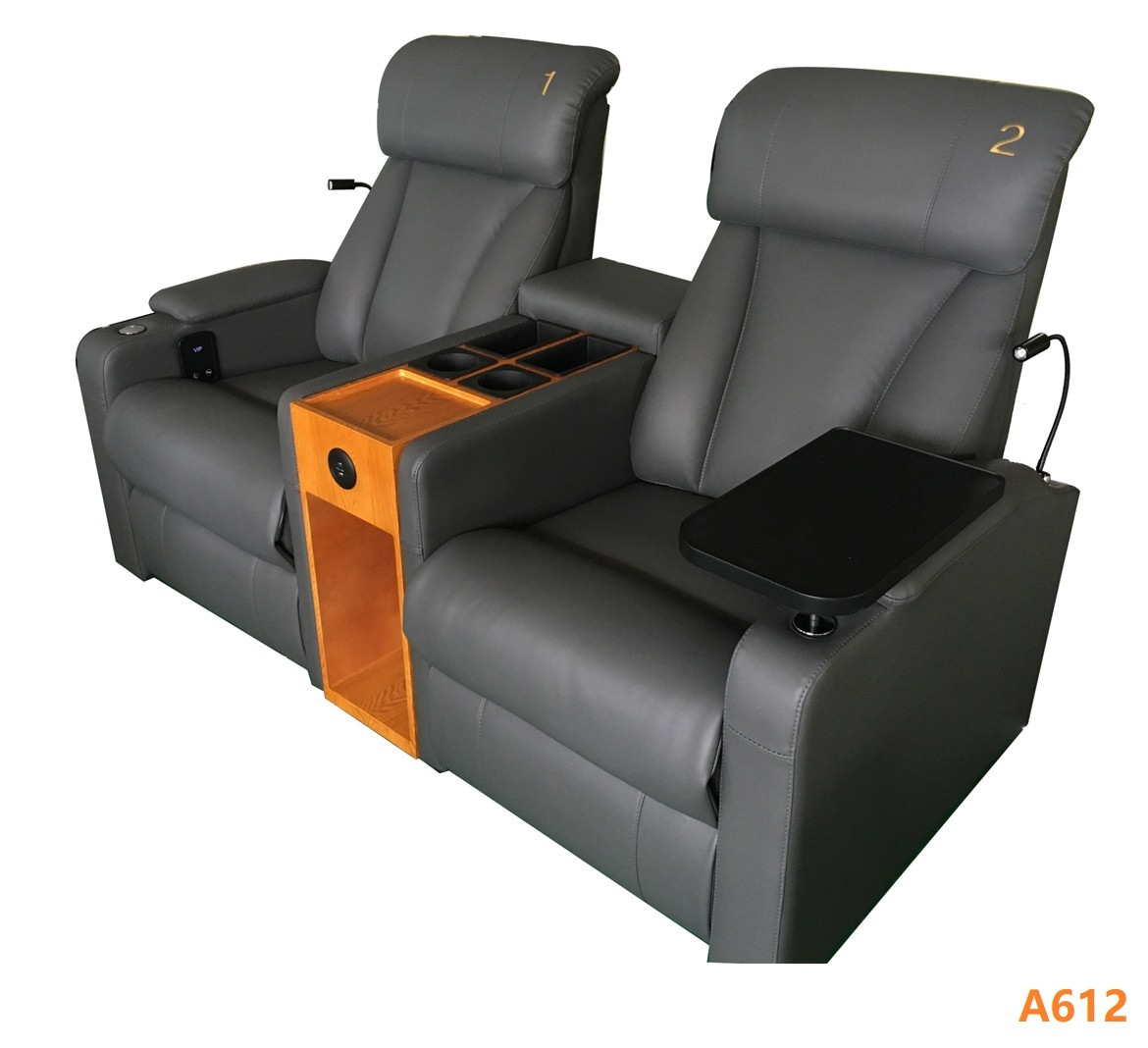 [Hot Item] New Design Living Room Power Recliner Sectional Corner Reclining  Sofa, Genuine Leather Recliner with Cup Holder