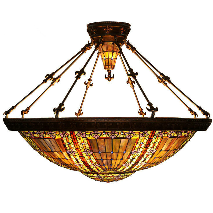 Hot Item Large Tiffany Ceiling Lamp Stained Glass Pendant Light For Hotel Lobby
