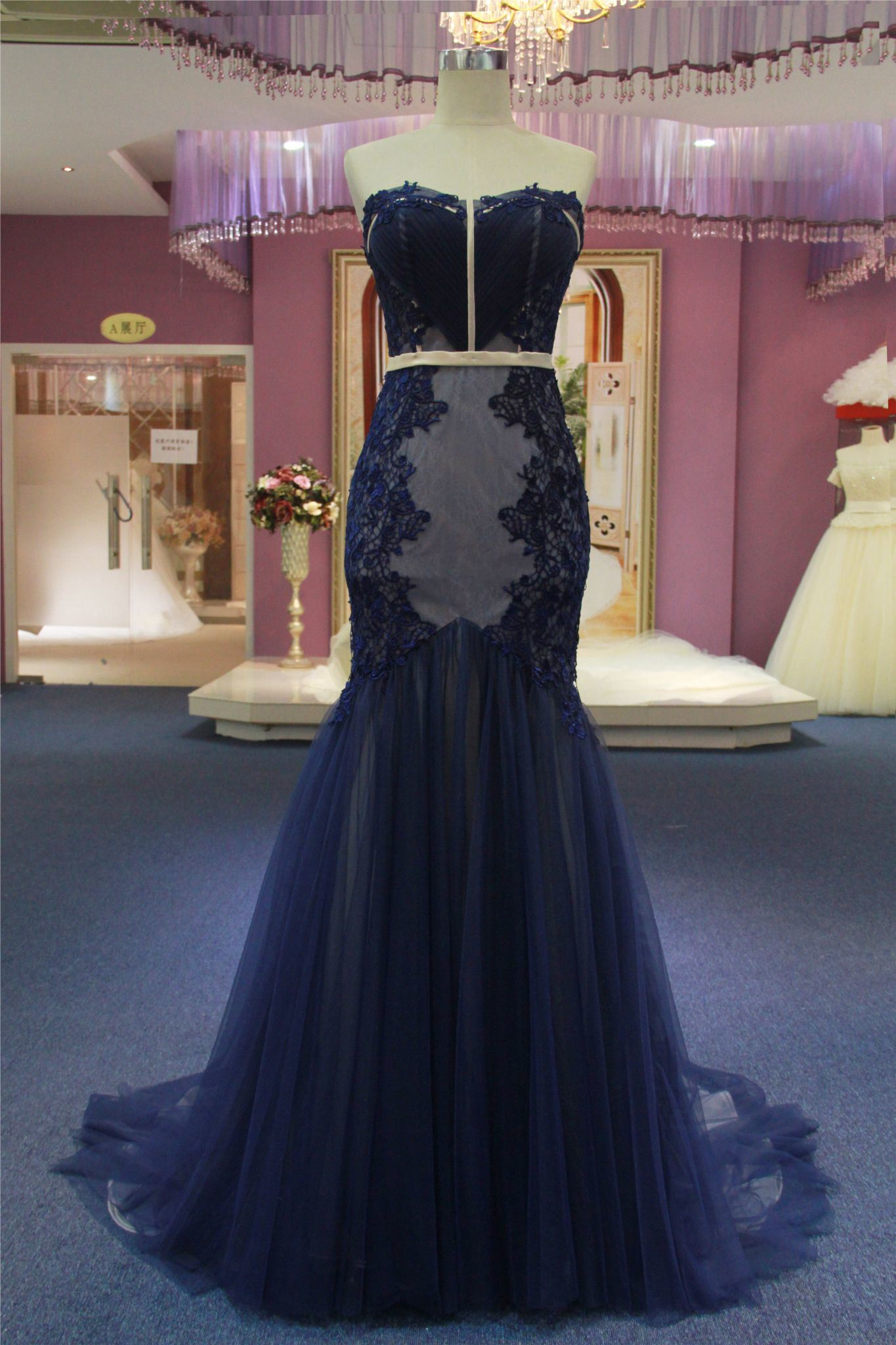 Hot Item Strapless Mermaid Navy Blue Wedding Gown Evening Dress
