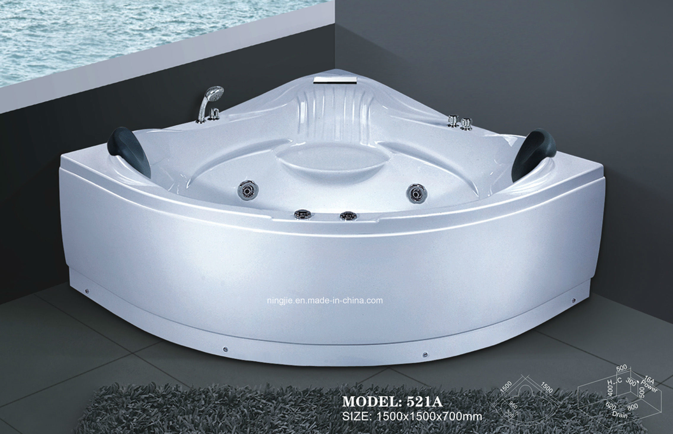 China Ningjie Massage Bathtub and Whirlpool Jacuzzi (521B) Photos ...