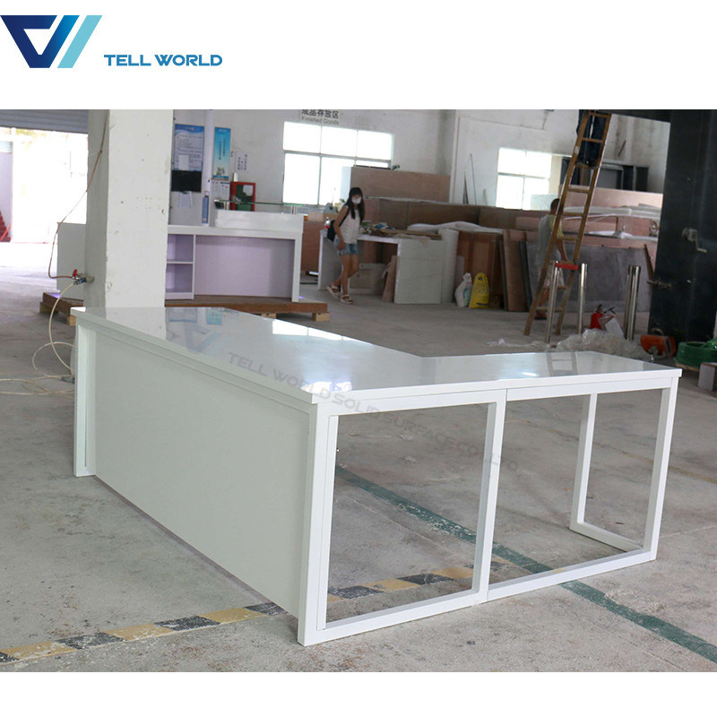 China Marble Stone Top Two Sided Office Furniture Computer Manager Office  Desk White Simple Office Table   China Stone Office Desk, Office Furniture  Table