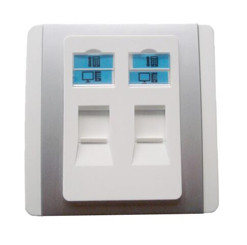 86 Type Dual Port Ethernet Cat5e CAT6 Wall Faceplate Silver
