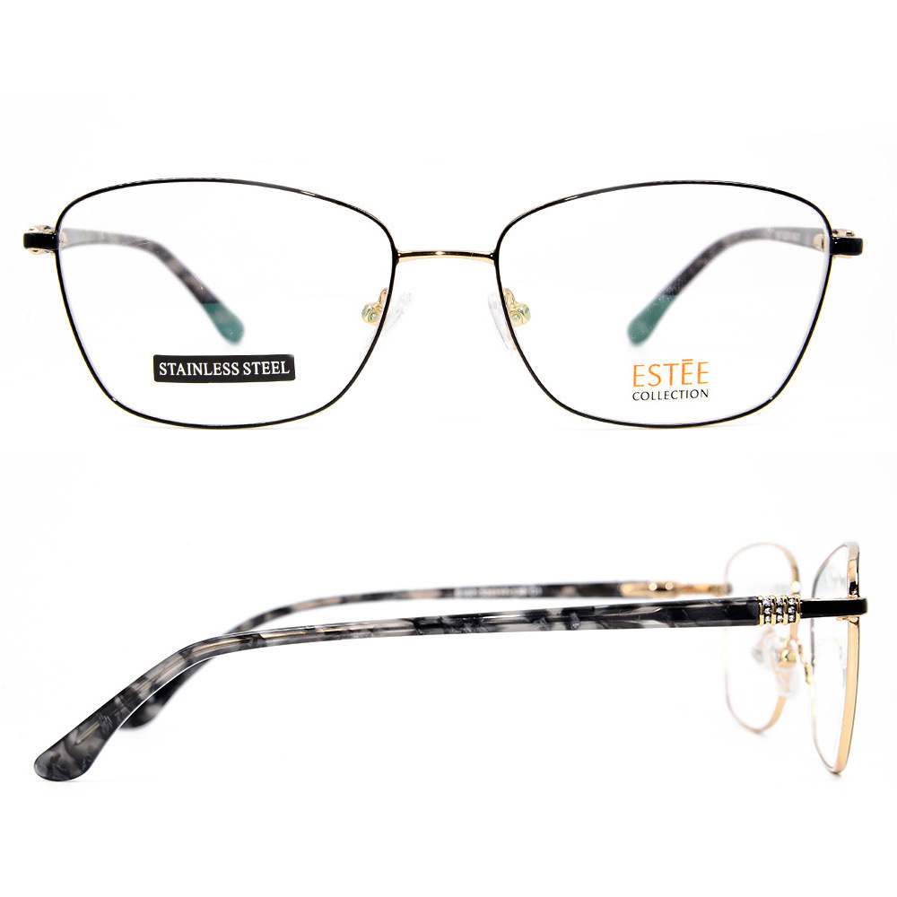 e5ee9d8cf8 China New fashion Women Full Rim Metal Optical Frames with Diamond Acetate  Temple Spectacle Frames - China Eyeglass Frame