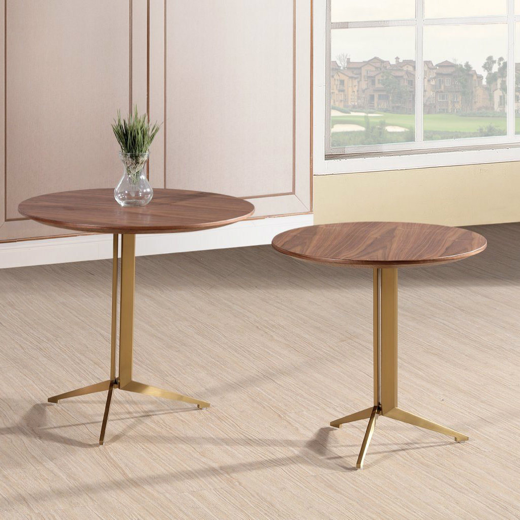 - China Living Room Round Coffee Table Sets With Stainess Steel Leg