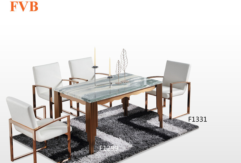 China Nordic Natural Marble Dining Table With Stainless Steel