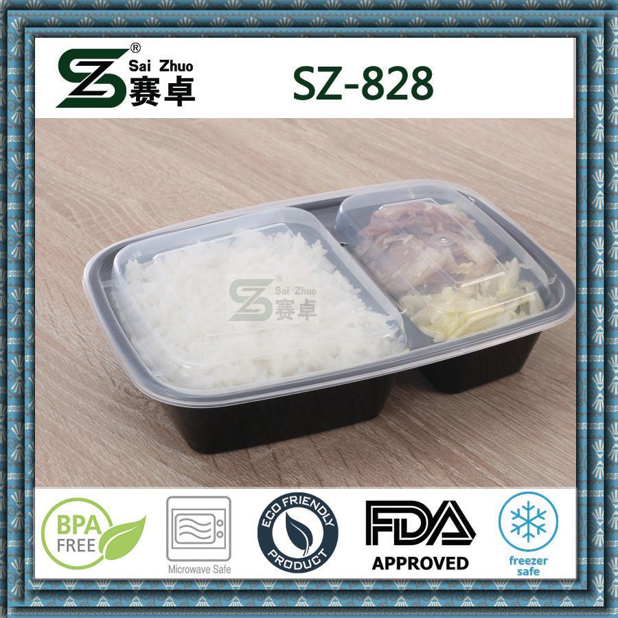 2 Compartment Plastic Disposable Food Packaging Container