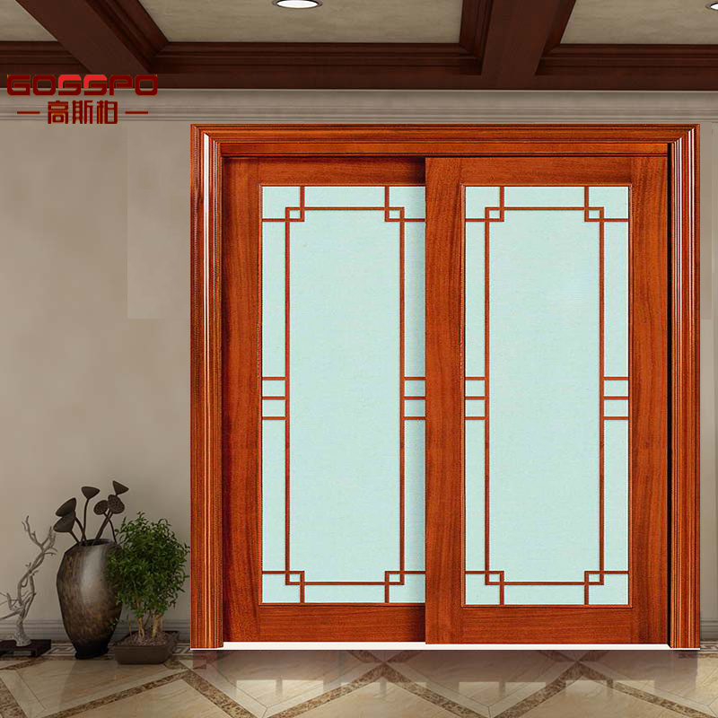 [Hot Item] Wood Sliding Glass Bedroom Door with Grill (GSP3-021)
