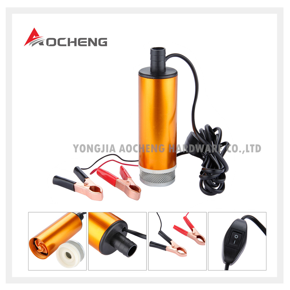 China Aluminum 12v Submersible Water Oil Car Transfer Pump With Fuel Filter