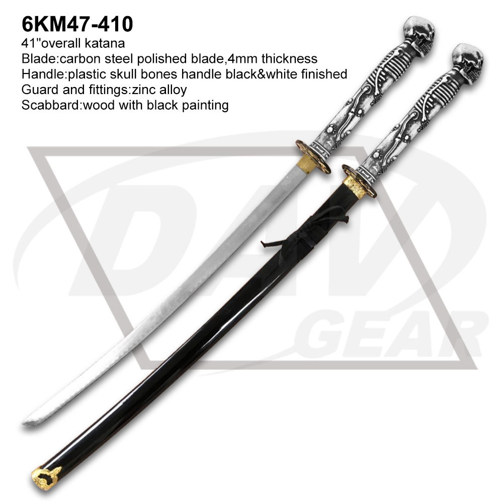 "41"" Plastic Skull Bone Handle Carbon Steel Blade Katana Sword pictures & photos"