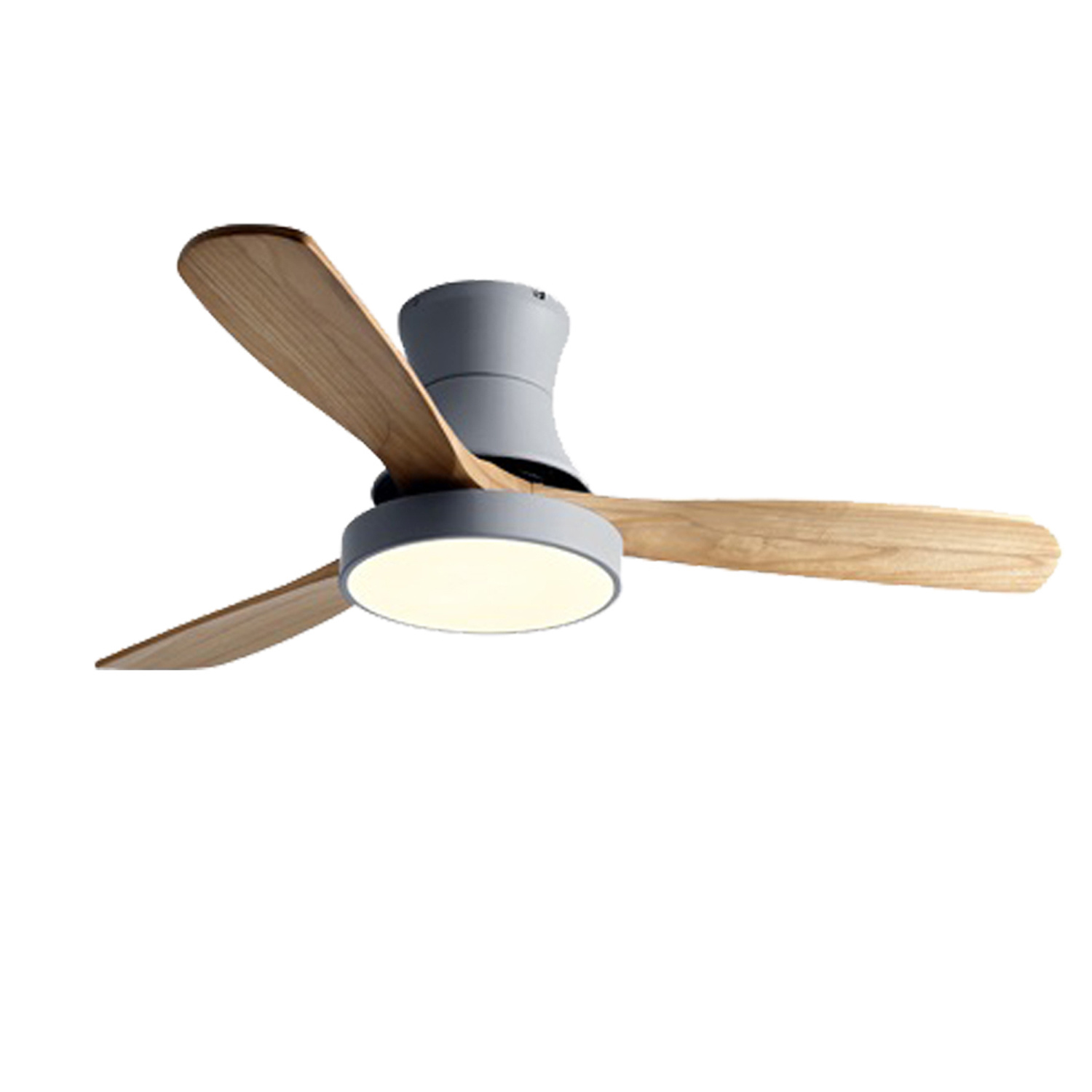 China 52 Inch Big Size Low Profile Flush Mounted Hugger Installed Home Decorative Wood Ceiling Fan With Cct Led Light Remote Control China Decorative Ceiling Fan And Wood Ceiling Fan Price