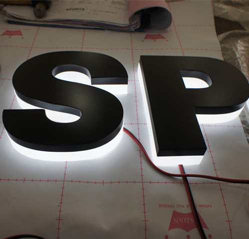 Exterior Interior Business Advertising LED 3D Backlit Halolit Reverse Black LED Channel Letters