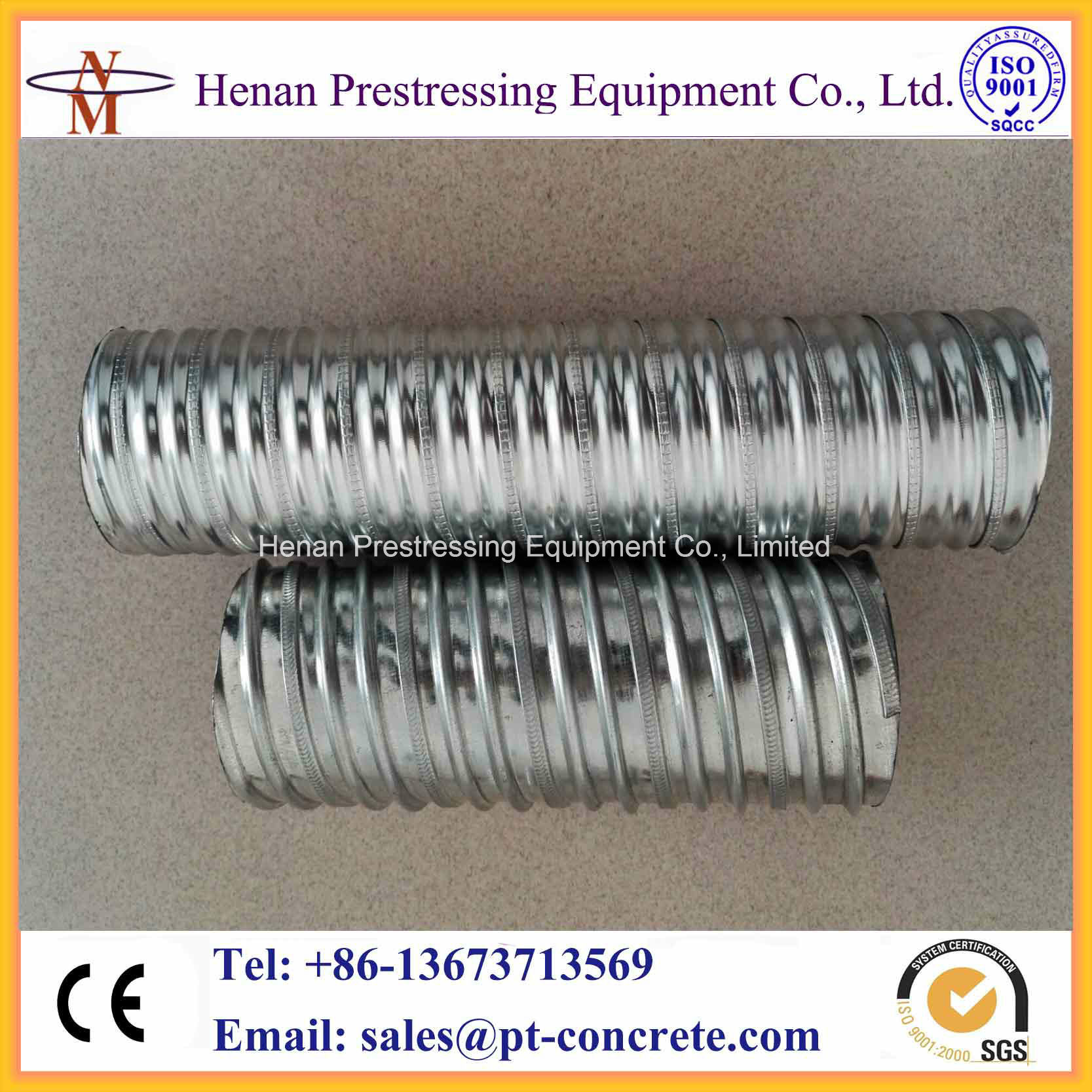 China Prestressed Galvanized Corrugated Metal Duct Post-Tensioning ...