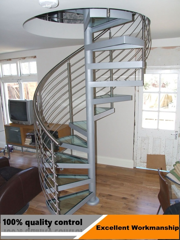Stainless Steel Curved Stair And Glass Railing Indoor Staircase