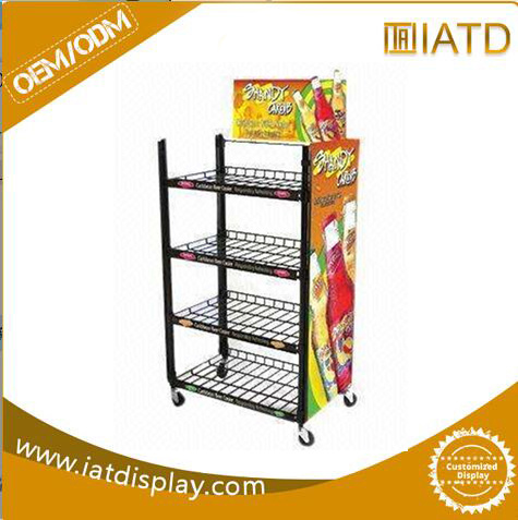 China Metal Wire Display Rack with Graphic Panel / Display Stand ...