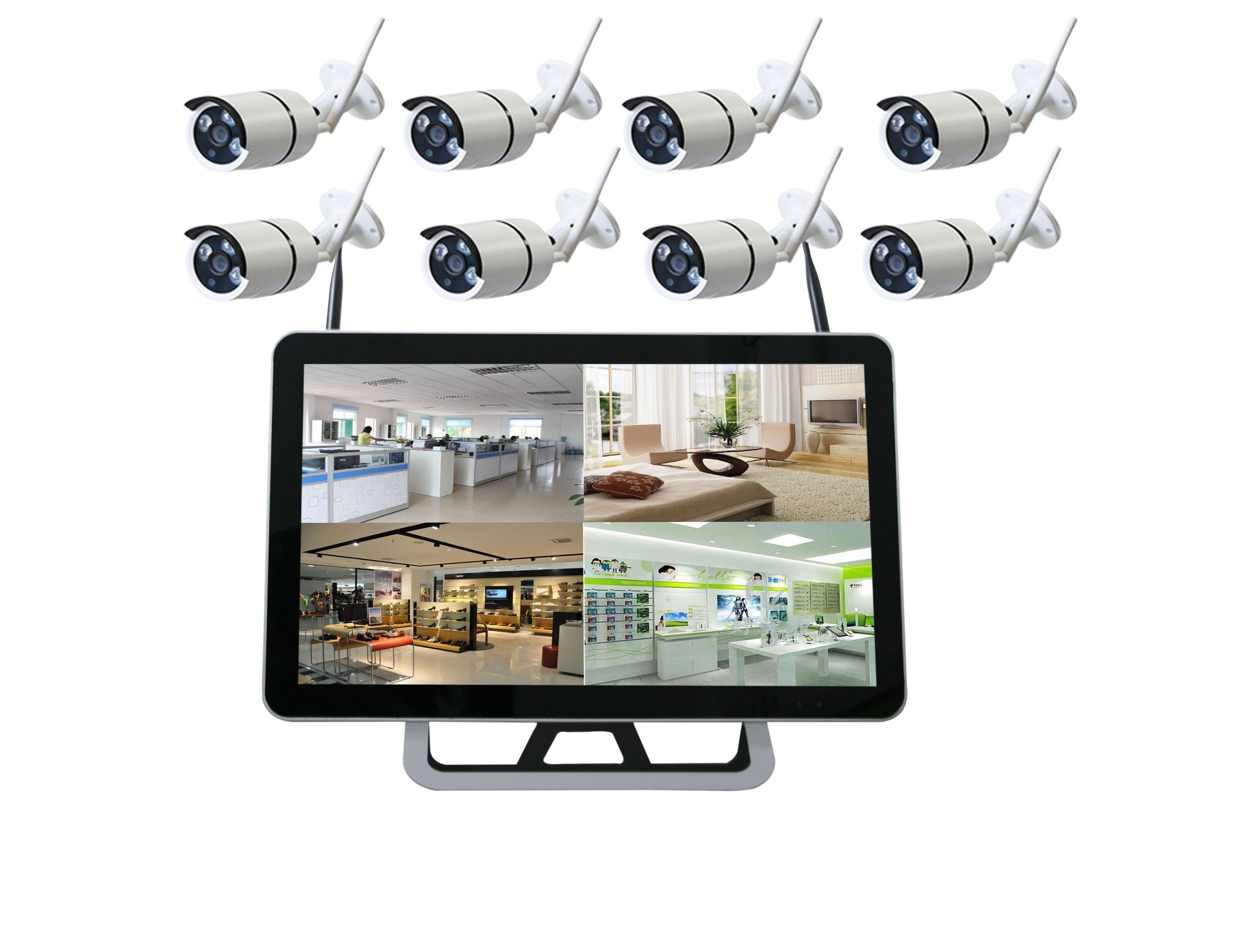 China Cctv System 1080p 8ch Hd Wireless Nvr Kit Outdoor Ir Night Vision Ip Camera Wifi Home Security Surveillance