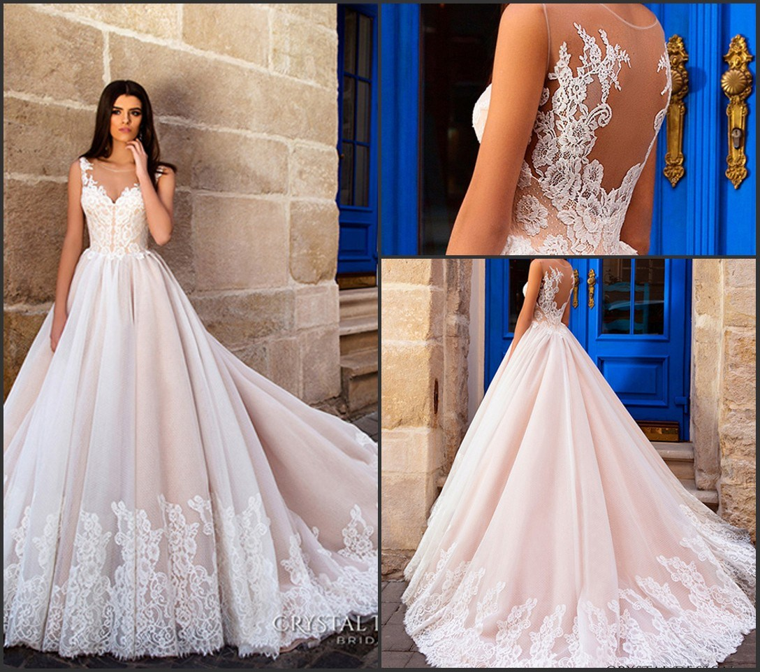 China Blush Pink Bridal Gowns Tulle French Lace Sheer Back