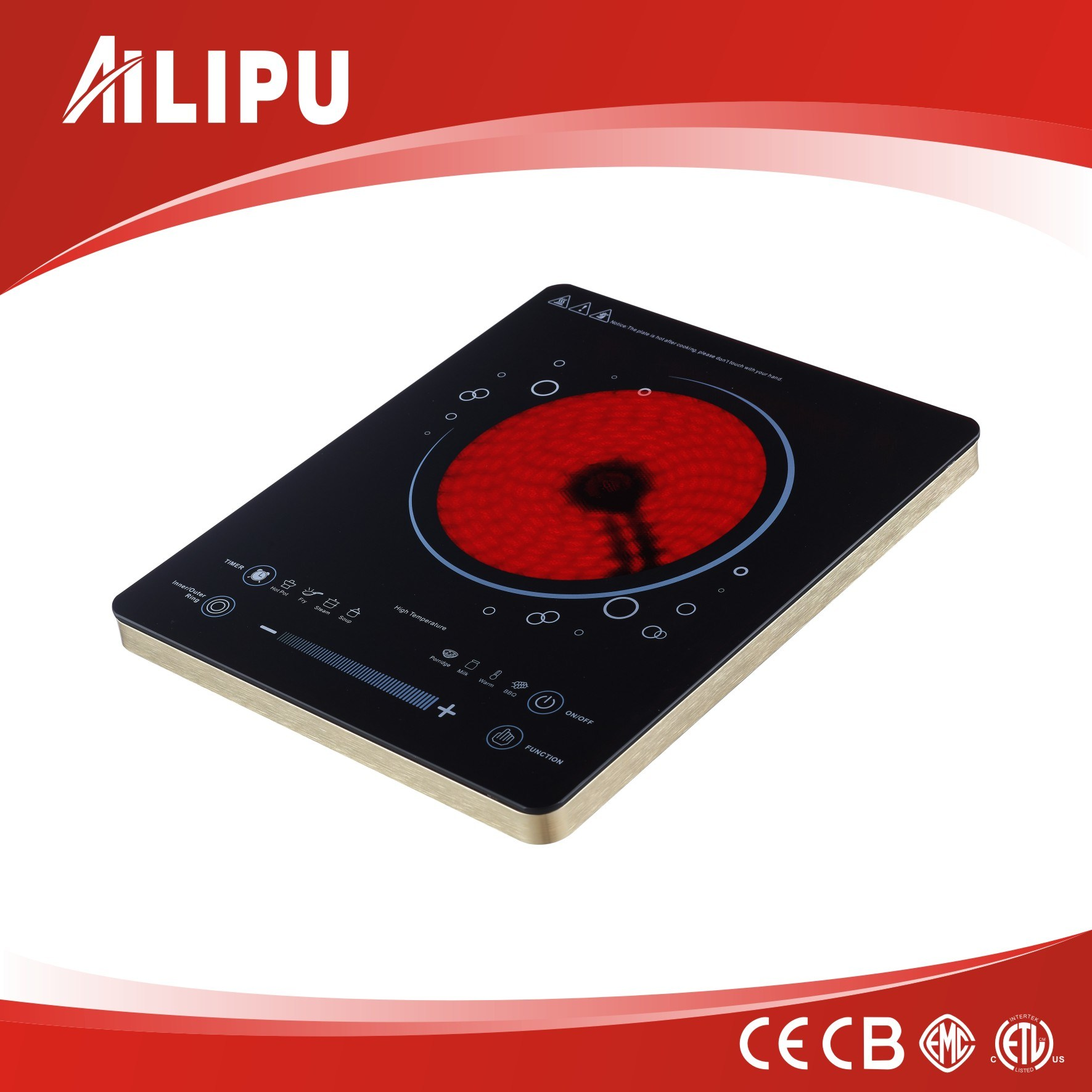 CE Certificate and Touch Screen No Radiation Plastic Housing Infrared Cooker/Ceramic Cooker