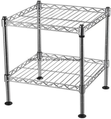 Strange Hot Item Square 2 Tiers Durable Adjustable Stackable Chrome Steel Wire Shelf Unit On Table Download Free Architecture Designs Embacsunscenecom