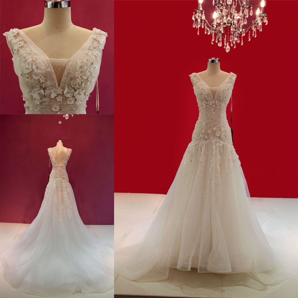 3D Flower China Wedding Dress Gown Z11135 - China Wedding Gowns ...