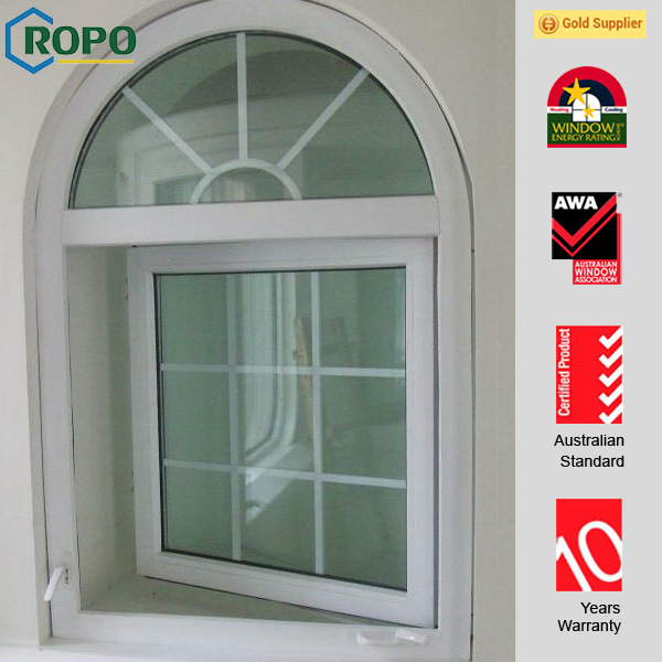 China Arch Glass Top Design UPVC/Plastic Frame French
