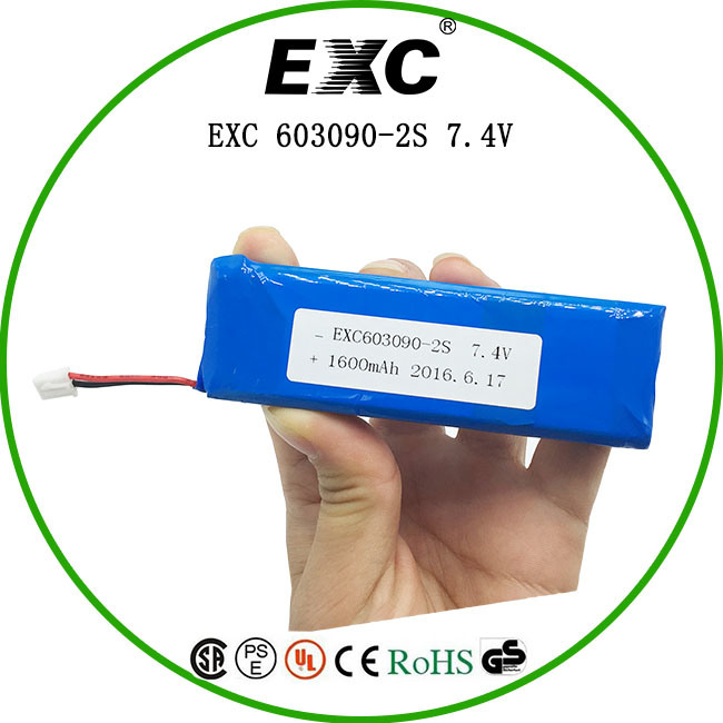 603090 Series Rechargeable Battery Lithium Polymer Battery 1600mAh 7.4V