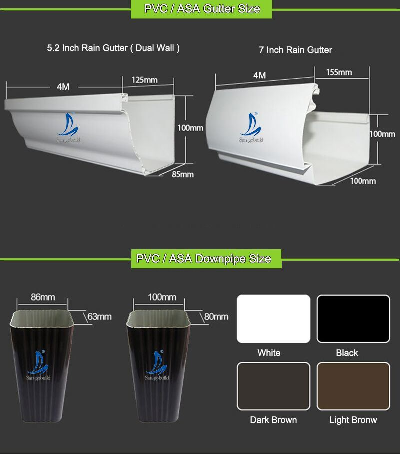 China Philippines Hot Sell Pvc Rain Gutter And Downspout For Drainage System 5 2inch 7inch Size Square Rain Gutter Malaysia China Philippines Rain Gutter Malaysia Rain Gutter