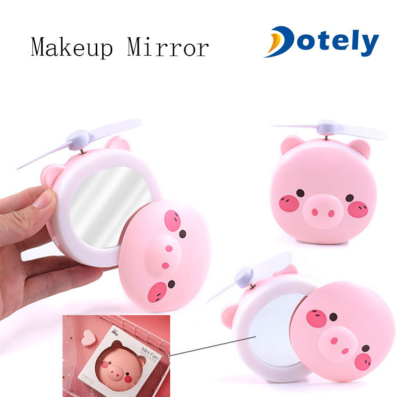 4-11H Working Hours,180/° Rotating Enjoyment Necklace Fan with Makeup Mirror USB Mini Folding Fan with String 3 Setting