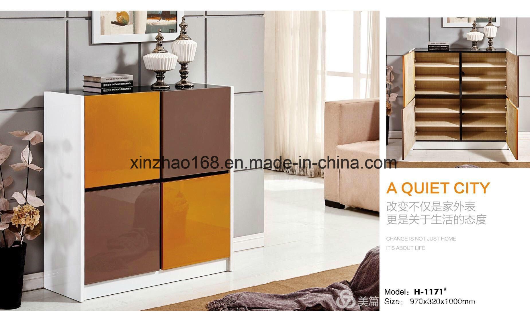 Hot Sale White Mdf 2 Door Wooden Shoe Box Cabinet
