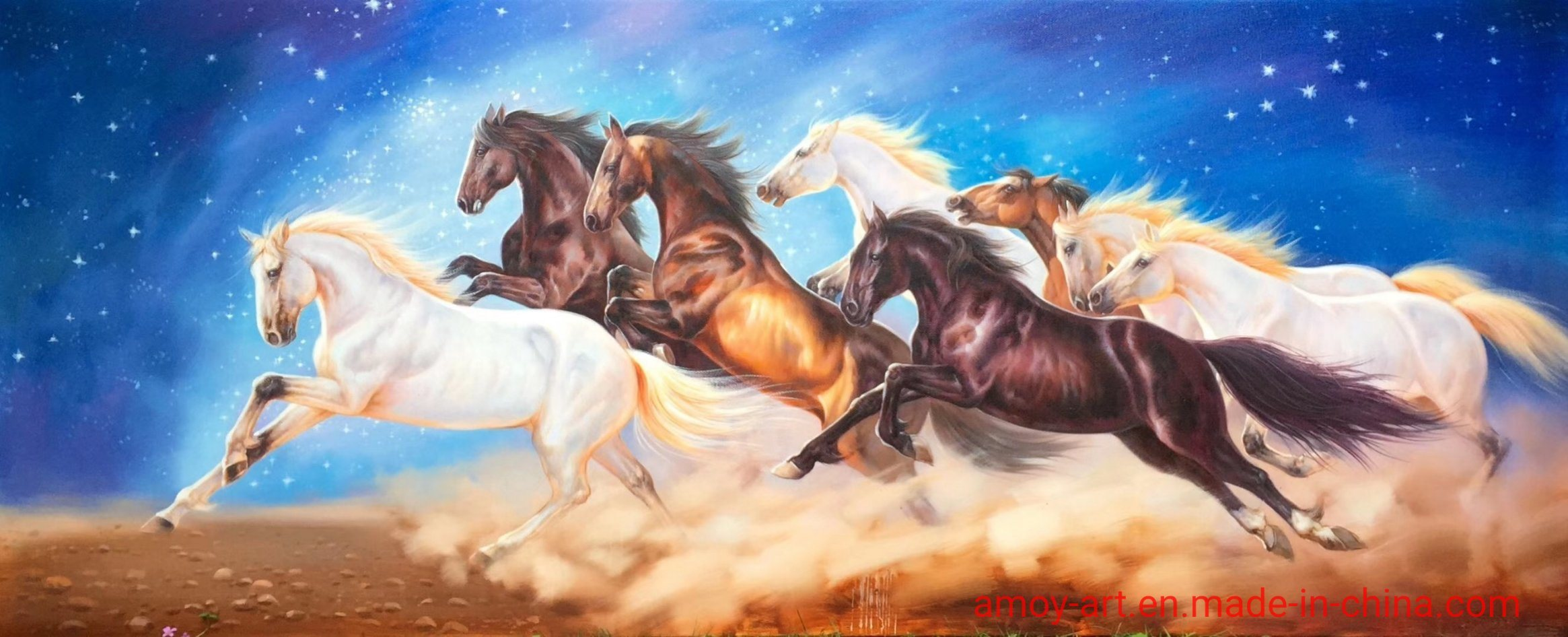 Chinese Fengshui Oil Painting Of 8pcs Of Running Horses Photos Pictures Made In China Com