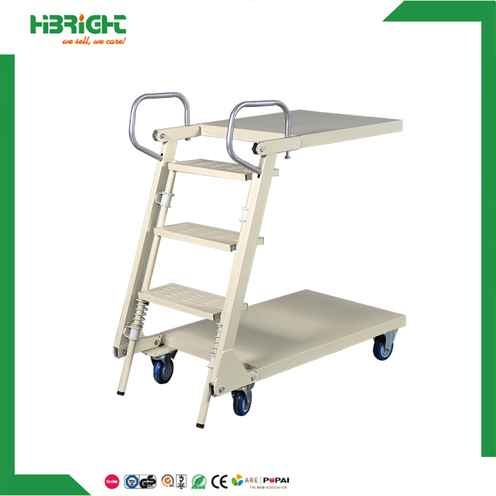 Warehouse Supermarket Truck Moveable Stairs Steel Safety Rolling Mobile  Platform Ladder Cart