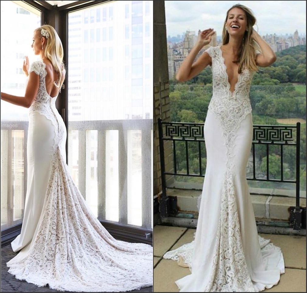 [Hot Item] Lace Spandex Bridal Gowns V,Neckline Lace Boho Beach Bridal  Wedding Dresses By1612