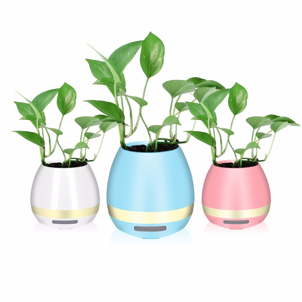 China Popular Gift Plant Singer Mini Flower Pot Led Bluetooth