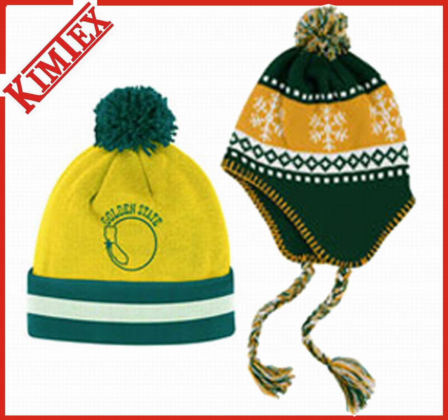 Fashion Acrylic Winter Jacquard Knitted Cap with POM POM