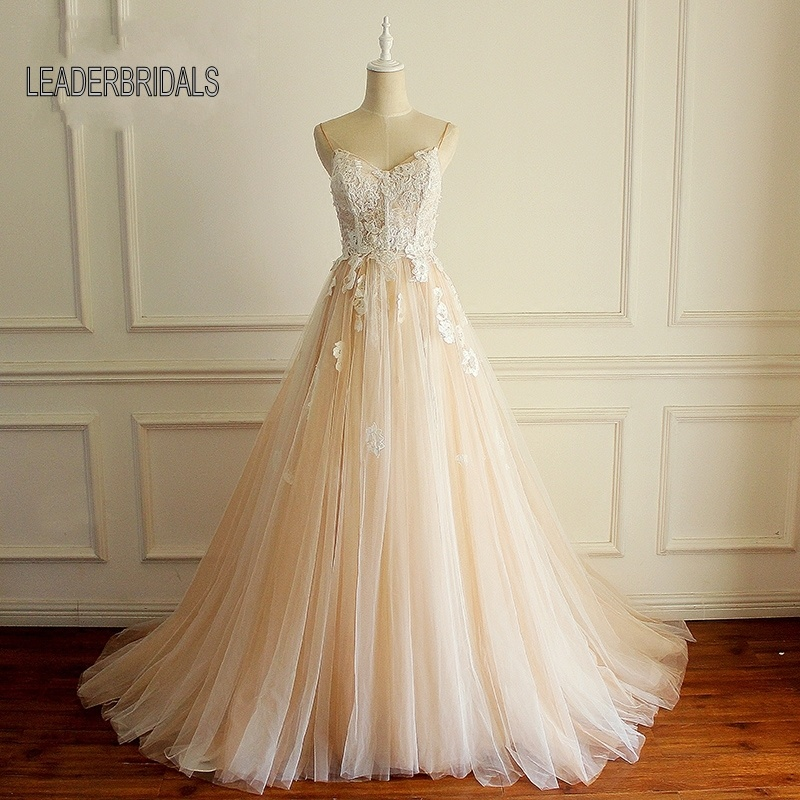 Blush Wedding Dress.Hot Item 2018 New Blush Wedding Dress Spaghetti Straps Lace Tulle Bridal Ball Gown Lb1539