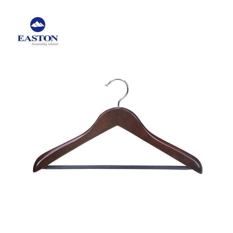 China 4 5cm Thickness Mahogany Coat Hanger With Silver Hook Wooden Femal