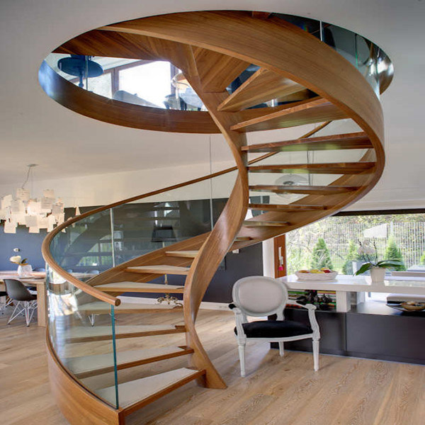 China Solid Wood Double Stair Stringer Indoor Modern Curved Staircase    China Stair, Customized