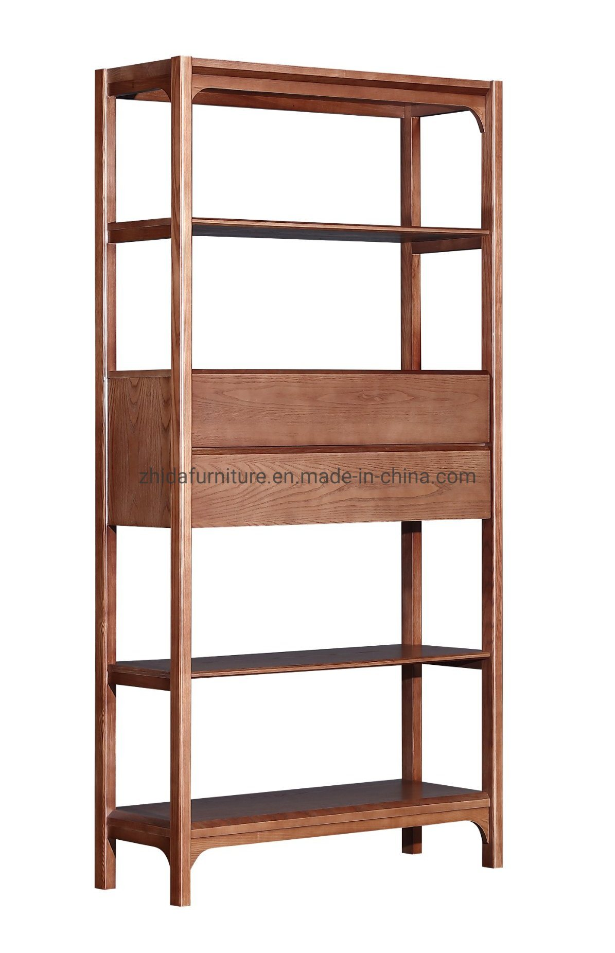China Pure Solid Wood Modern Bookshelf For Living Room Hotel Lobby