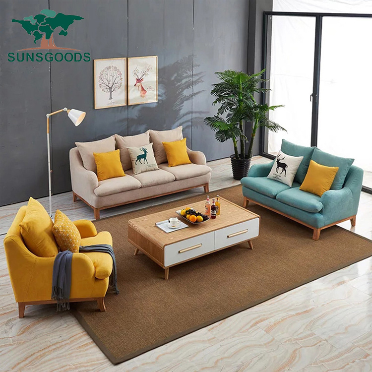 China Popular Living Room Fabric Sofa Simple Wooden Sofa ...