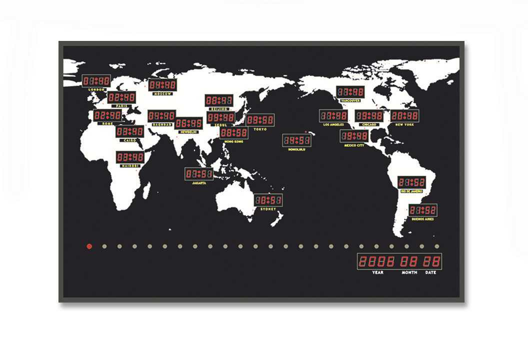 China Electric LED Digital Wall Mounted World Map Time Zone Clock ...