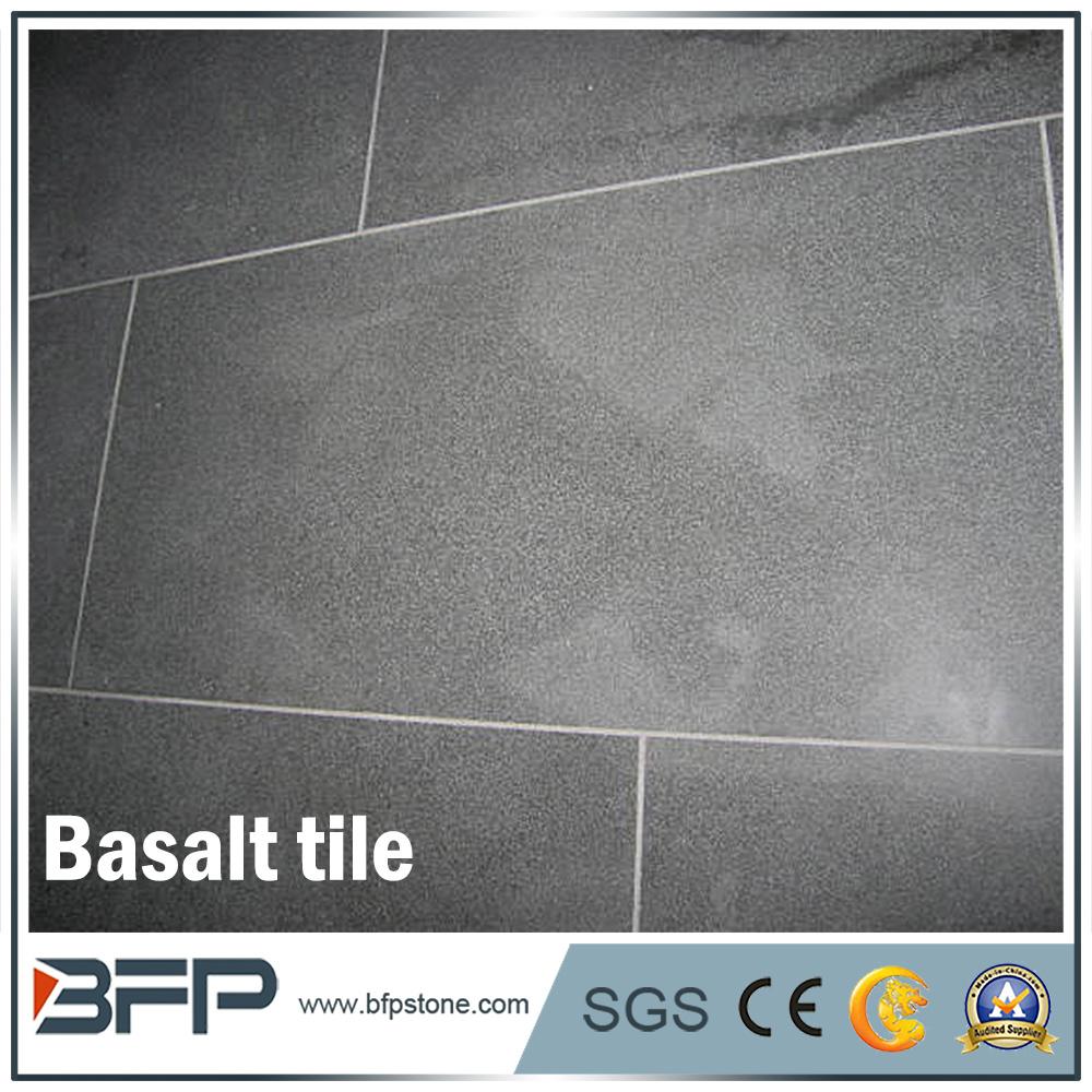 China Polished Honed Black Basalt Stone Basalt Tiles For Garden
