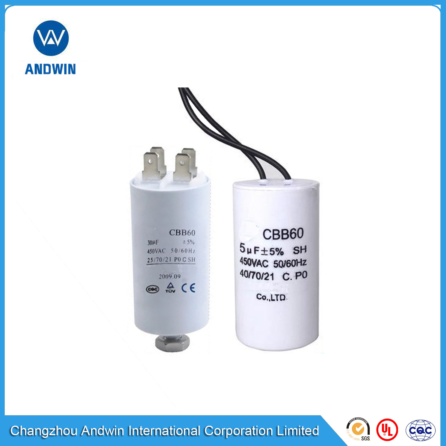 CBB65A-1 Cylindrical Motor Capacitor Compressors and Motors Motor Condenser 30uF AC 450V Suitable for Air Conditioners