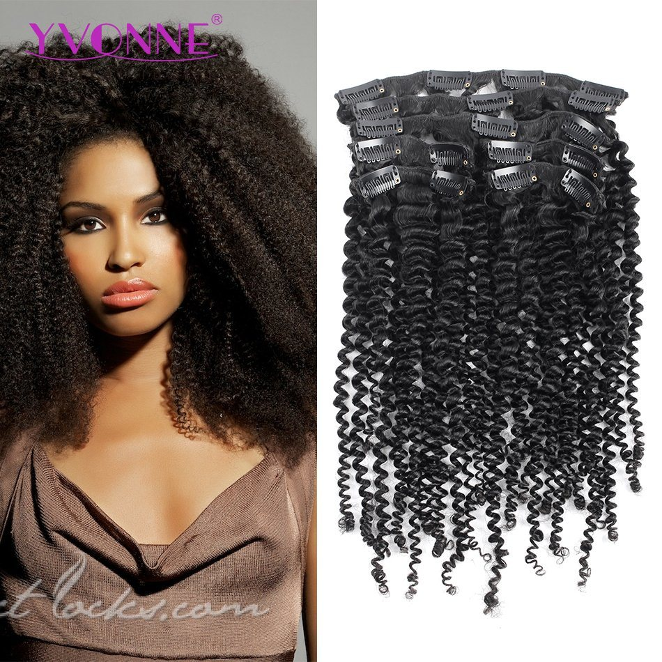 China Yvonne Kinky Curly Brazilian Hair Clip In Hair Extensions 7pcs