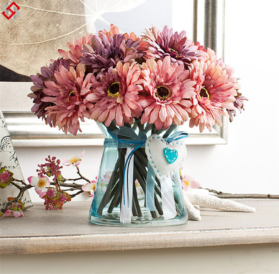 China Hot Pink Purple Gerbera Daisy Bridal Bouquets Silk Wedding