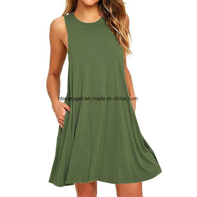 China Women′s Sleeveless Pockets Casual Swing T-Shirt Dresses ... cb18918b4