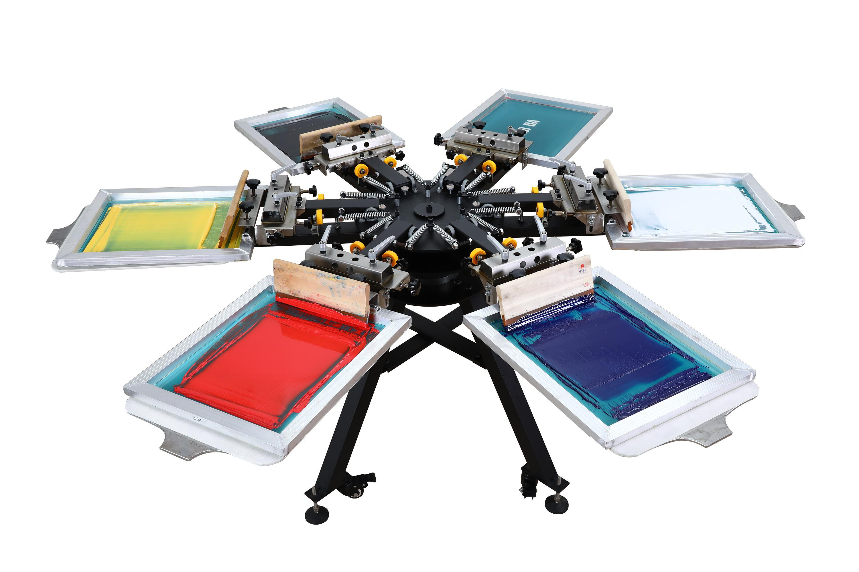 [Hot Item] High Quality Manual T Shirt 6 Color 6 Station Screen Printer  with Micro Registration