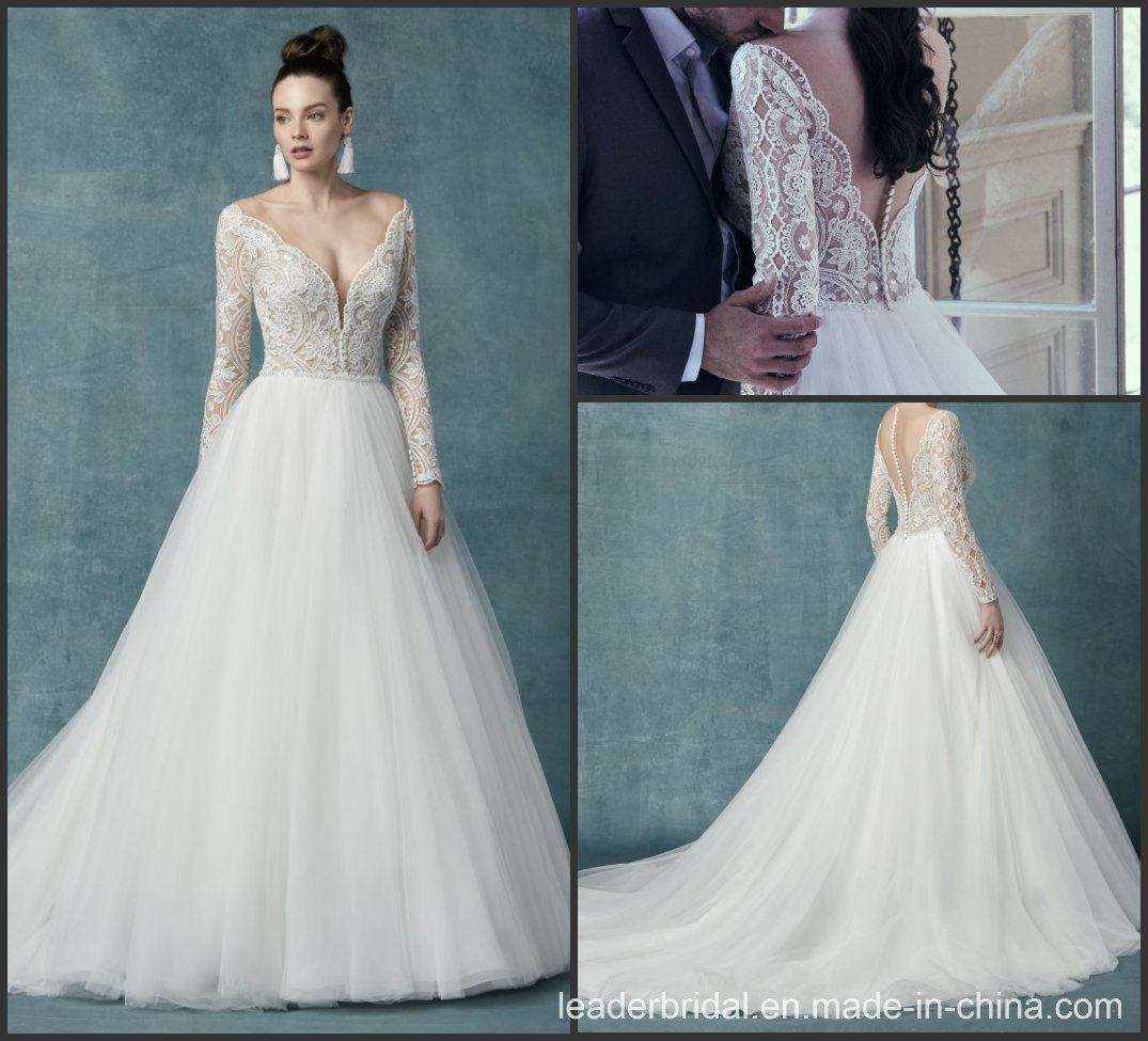 China Long Sleeves Bridal Ball Gowns Lace Tulle Glitter Wedding Dress M9411  - China Wedding Dress d0faab19be6f