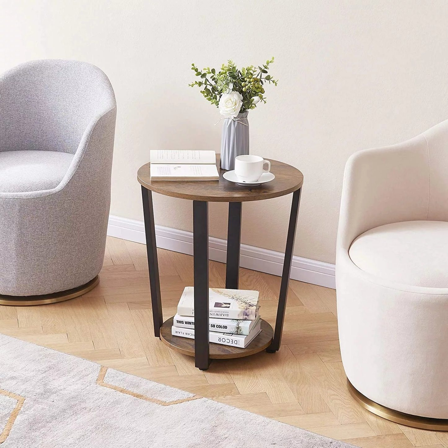 2 Tier Small Sofa Couch Table, Small Round End Table With Drawer