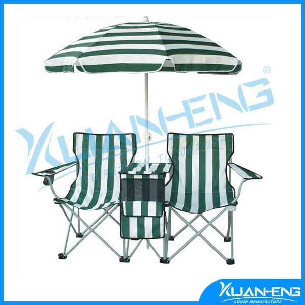 China Travel Outdoor Sports Double Beach Chair With Cooler Bag Quik