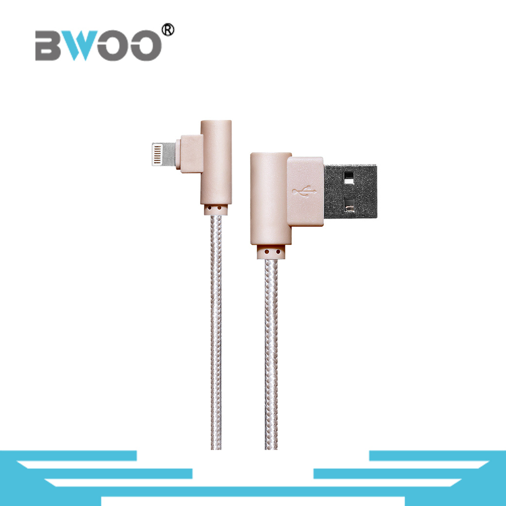 Right Angle Lightning USB Data Cable for Mobile Phone