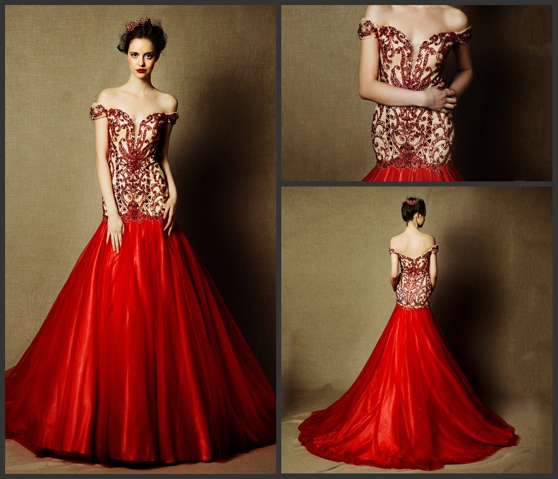 China Beaded Red Bridal Dress Cap Sleeves Wedding Gowns L28 Photos ...